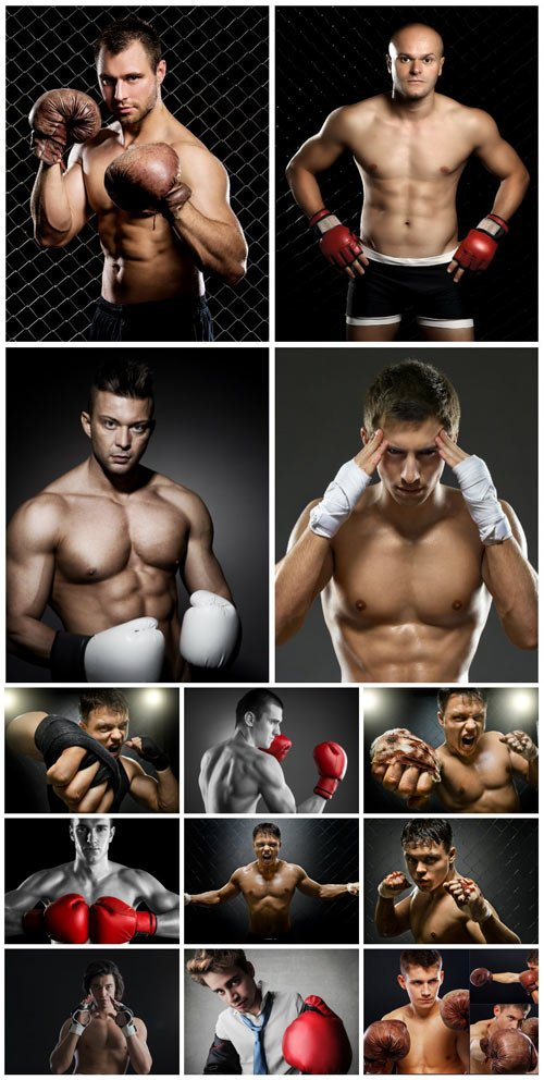 Boxing, male athletes - stock photos