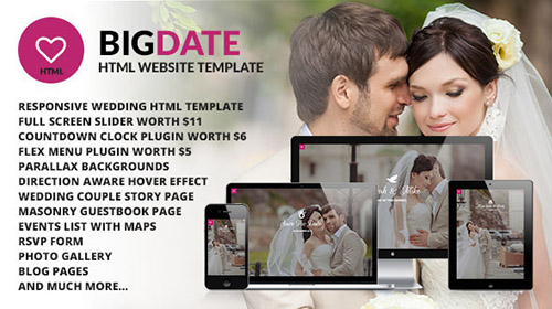 ThemeForest - Big Date - Wedding Responsive Site Template - RIP