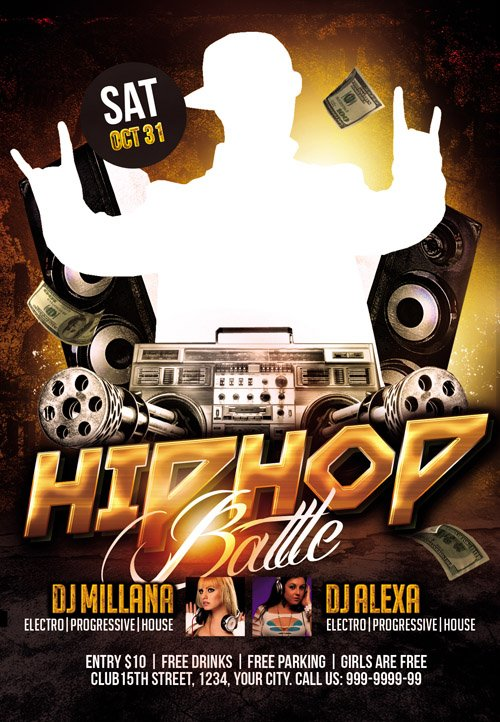 Club Flyer PSD Template - Hip Hop Battle » NitroGFX - Download ...
