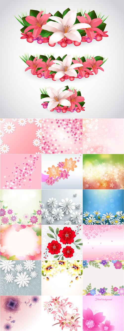 Different beautiful floral vector backgrounds 2