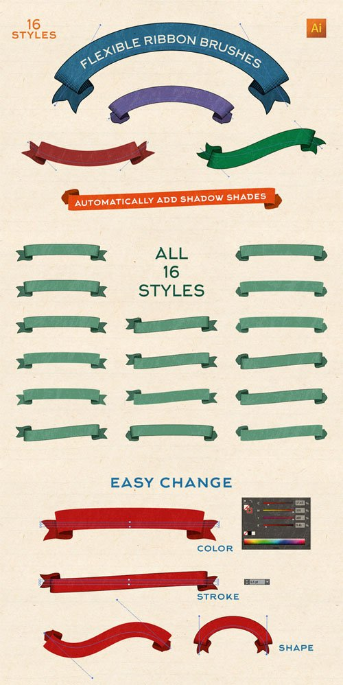Flexible Vintage Ribbon Brushes - CM 206966