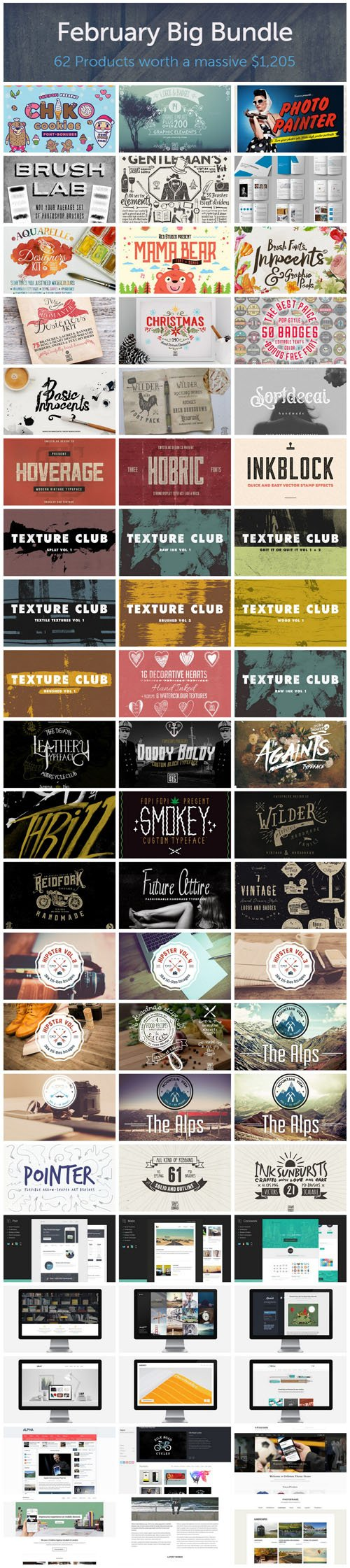 February Big Bundle 2015 - 62 Premium Creativemarket Items