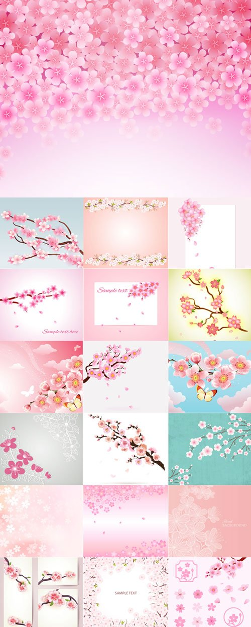 Cherry blossom vector backgrounds