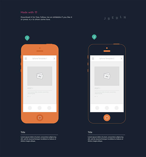 AI Vector iPhone Wireframe Templates
