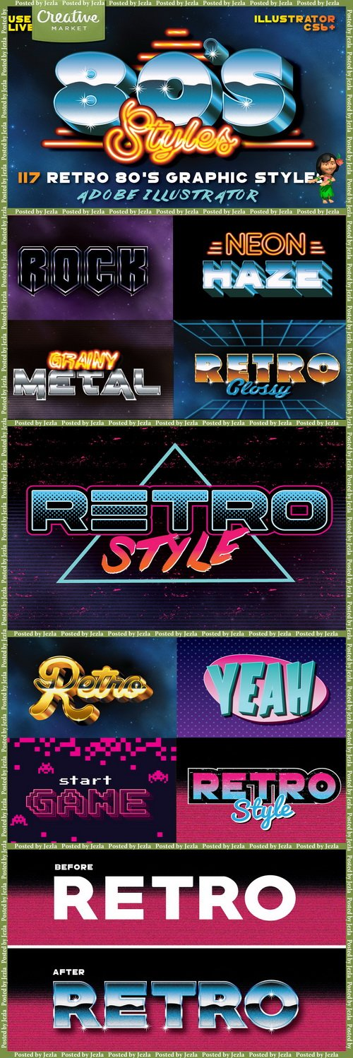 80's Retro Graphic Styles - 213806