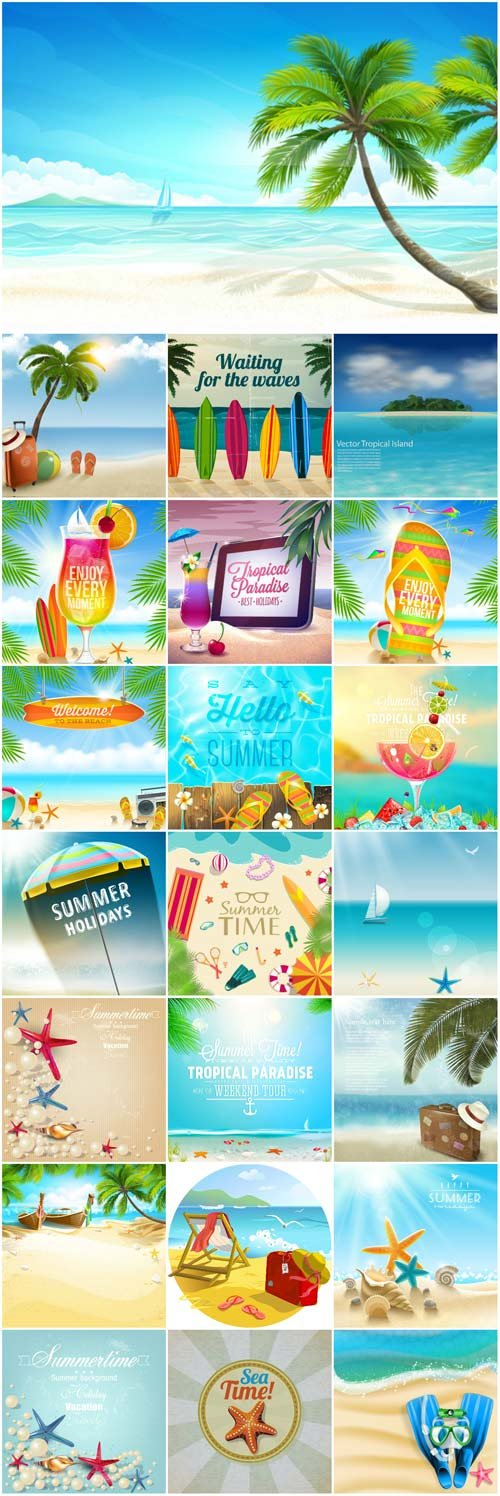Recreation and sea summer backgrounds vector