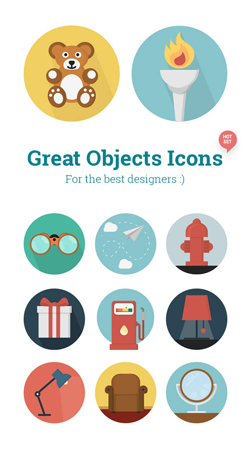 Ai, EPS, PNG Vector Icons - 12 Great Objects Round Icons