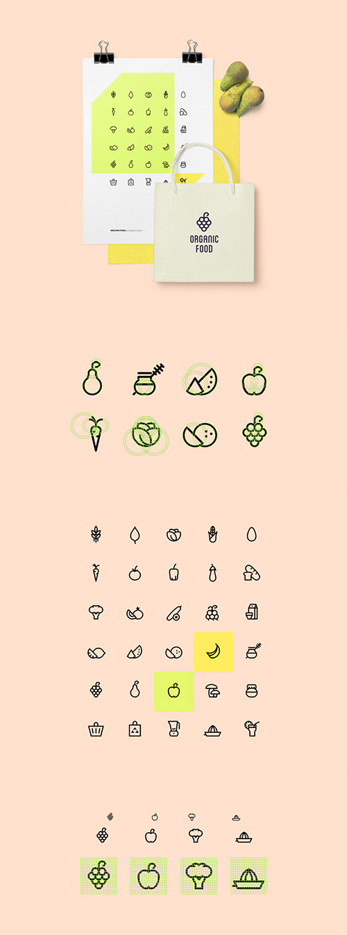 AI, EPS, SVG, PNG Vector Icons - Organic Food Icon Set