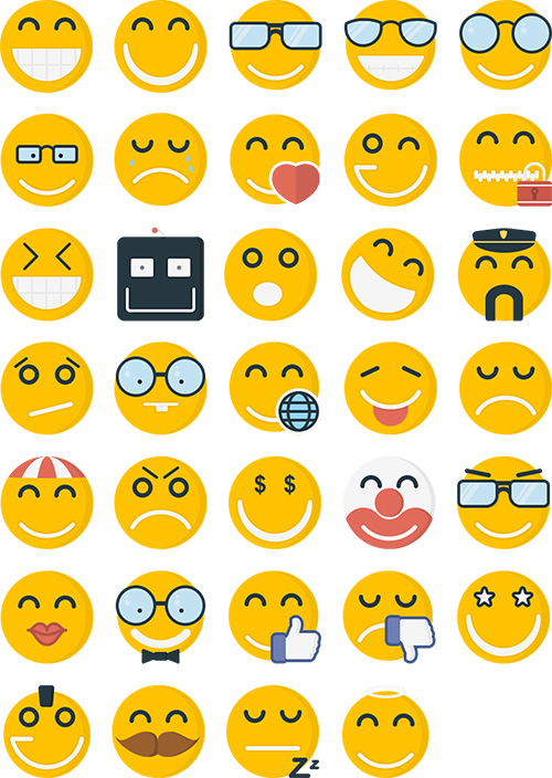 AI, EPS, SVG, PSD Vector Icons - Emoticons Flat Icons