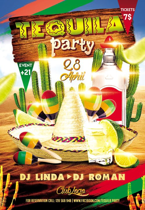 Flyer Template Tequila Party Plus Fb Cover 187 Nitrogfx