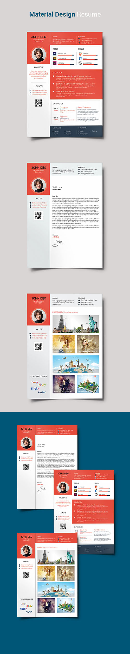 PSD Material Design Resume - Red & White Color Style
