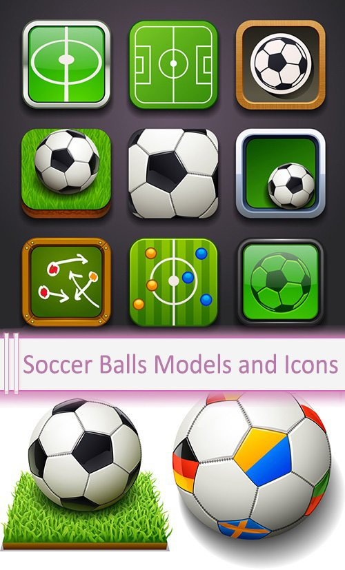 Vector Soccer Balls Models and Icons