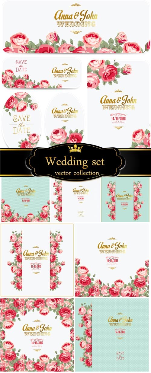 Wedding vector set with roses