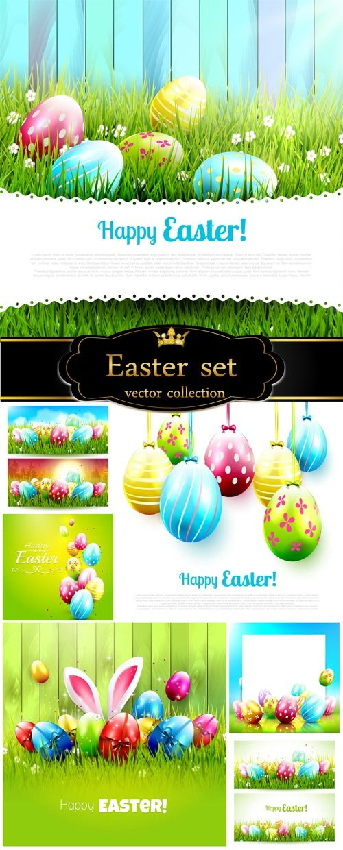 Easter background with Easter eggs, bunnies vector