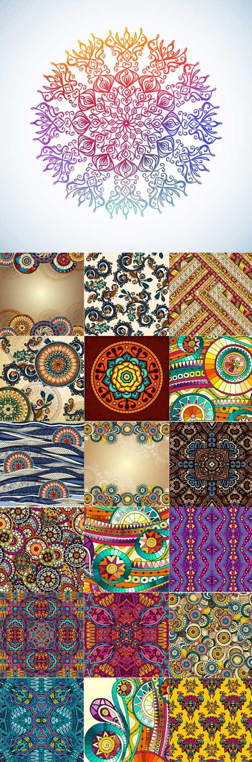 Ethnic pattern styles art backgrounds vector