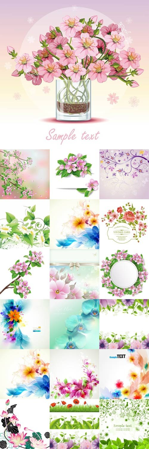 Romantic vector background with flowers-2