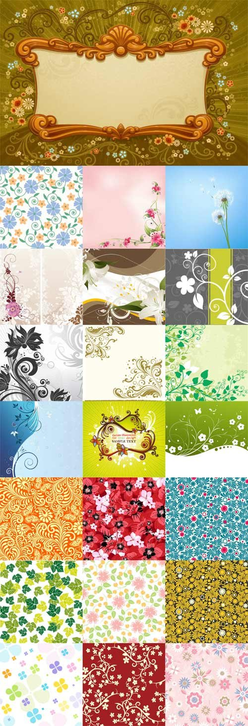 Floral patterns backgrounds stock vector - 7