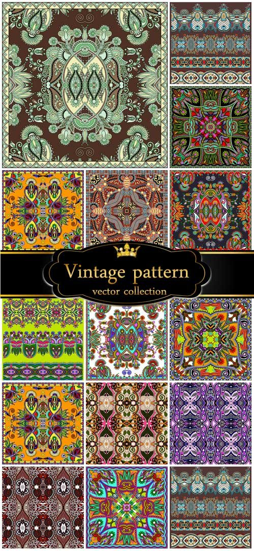 Vector set of vintage backgrounds with patterns