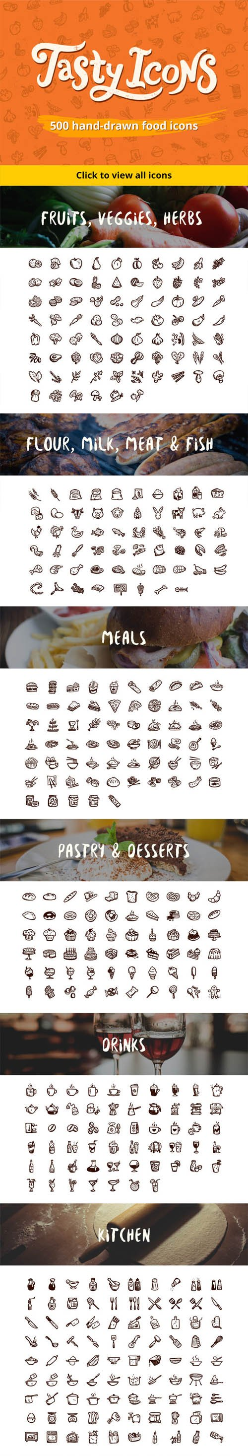 500 hand-drawn food icons - Creativemarket 170392