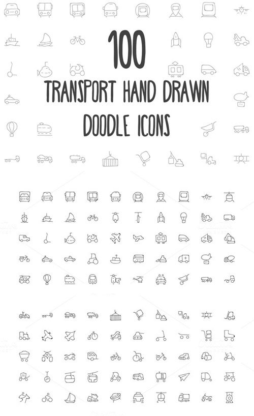 100 Transport Hand Drawn Doodle Icon - Creativemarket 162975