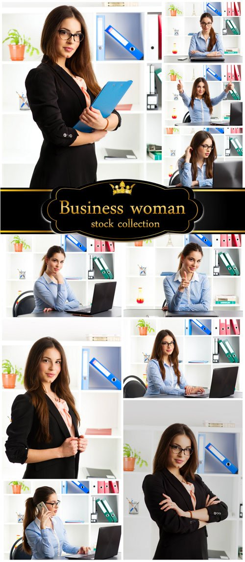 Business woman in office - stock photos