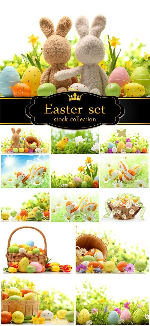 Easter set with flowers and easter eggs