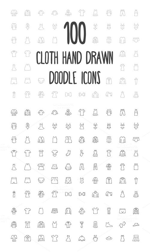 100 Cloth Hand Drawn Doodle Icons - Creativemarket 160688