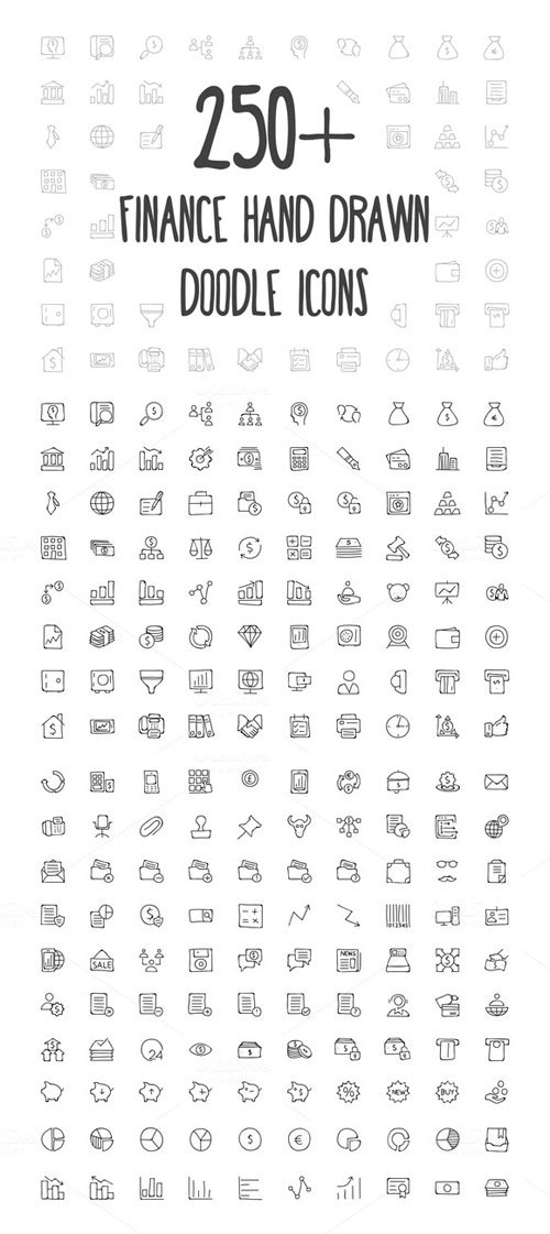250+ Finance Hand Drawn Doodle Icons - Creativemarket 156376