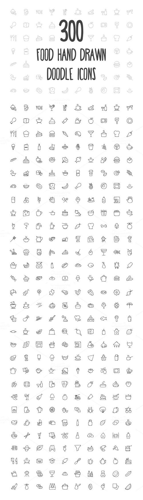 300 Food Hand Drawn Doodle Icons - Creativemarket 155353