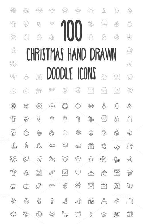 100 Christmas Hand Drawn Icons - Creativemarket 160685