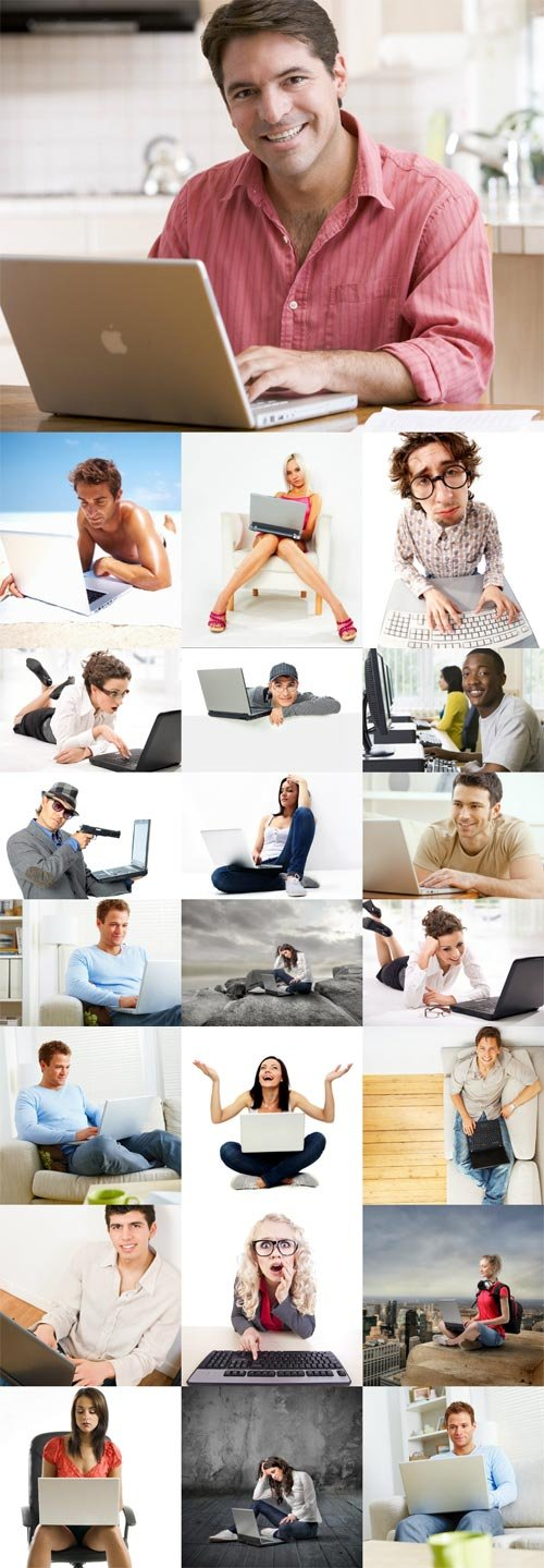 Users with computer Internet stock photos