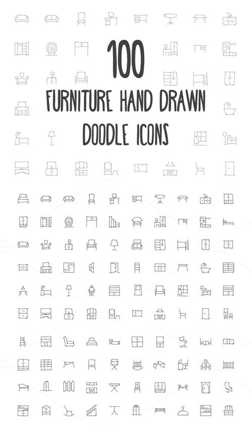 100 Furniture Hand Drawn Doodle Icon - Creativemarket 160702