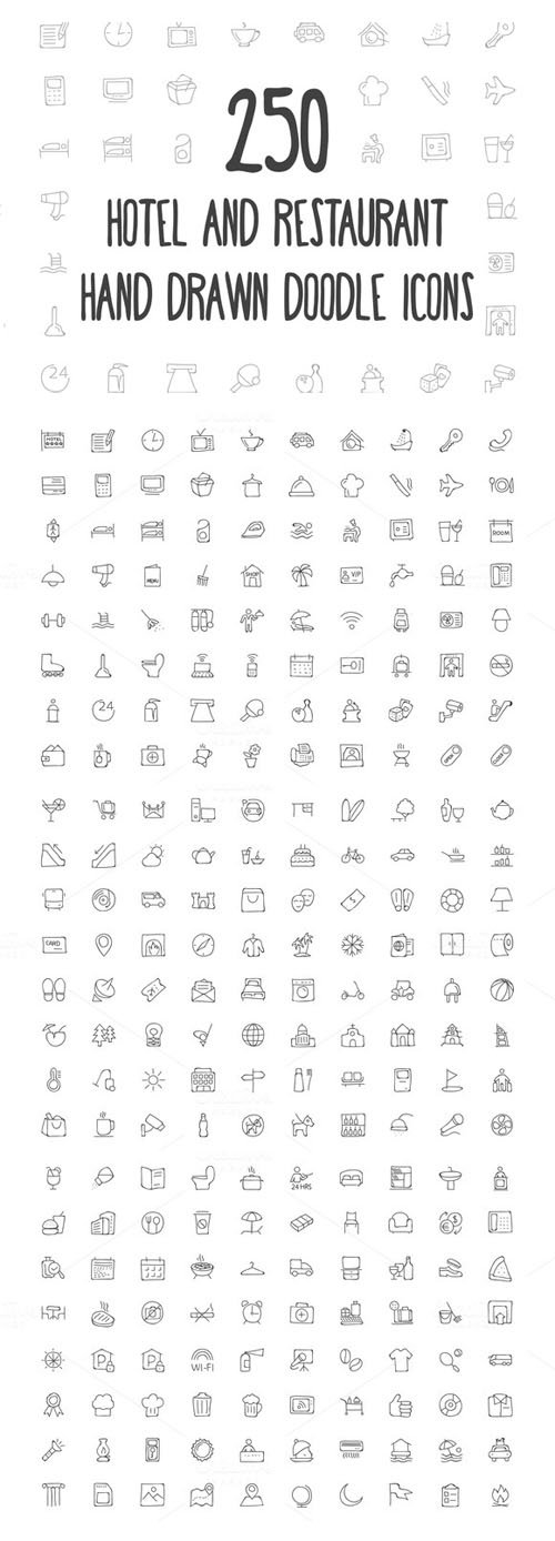 250 Hotel and Restaurant Doodle Icon - Creativemarket 160776