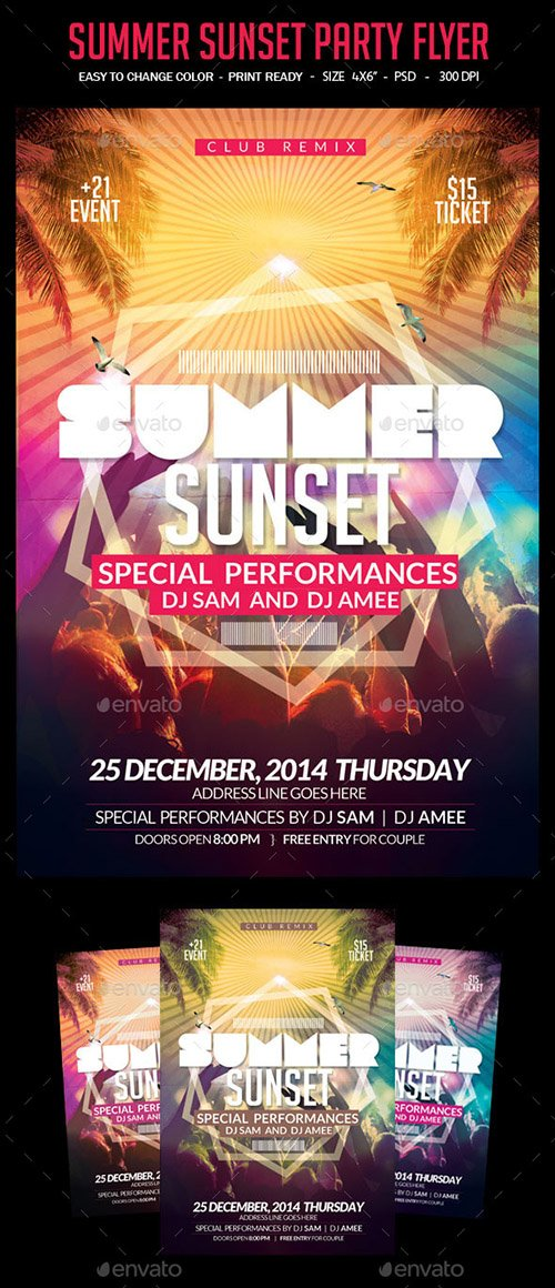 GraphicRiver - Summer Sunset Party Flyer 10783148