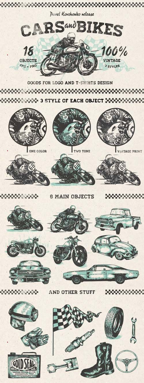 Vector Hand drawn Cars and Bikes
