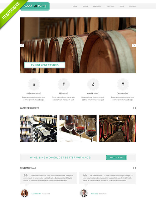FlashMint - Good Wine Responsive Bootstrap Website Template