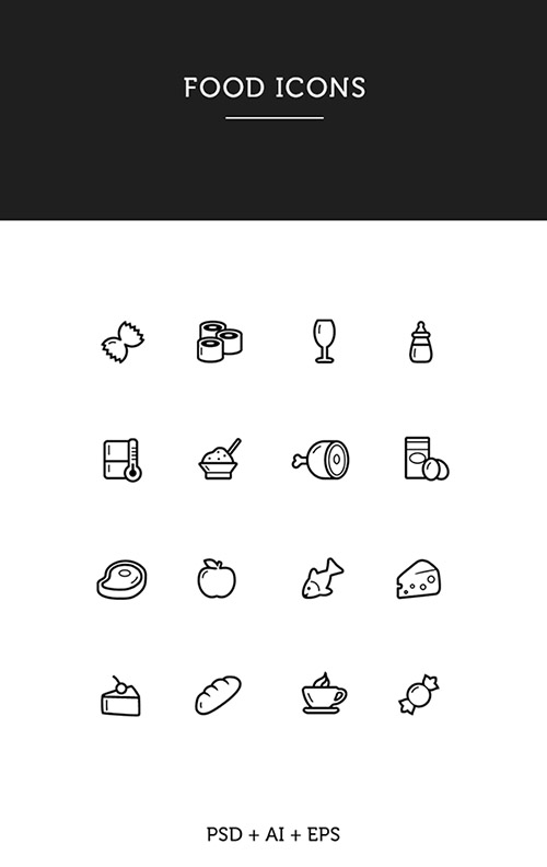PSD, AI, EPS Vector Web Icons - Food icons 2015