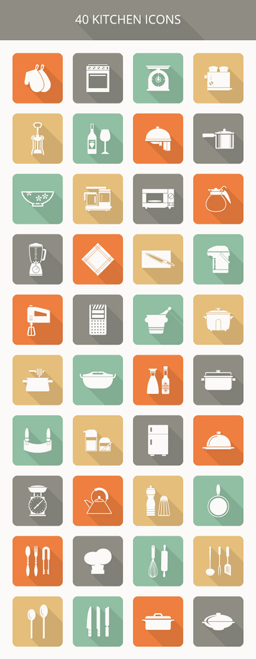 AI, EPS, PSD Vector Icons - Kitchen Icons 2015