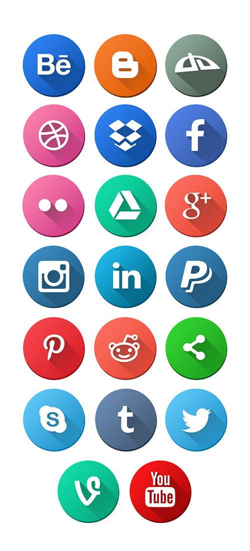 PSD, PNG Web Icons - Round Social Media Icons 2015