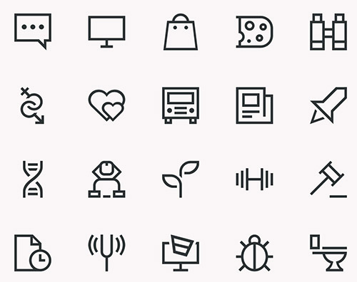 HTML/CSS, PSD, SVG Web Icons - Epic Outlines Icons 2015