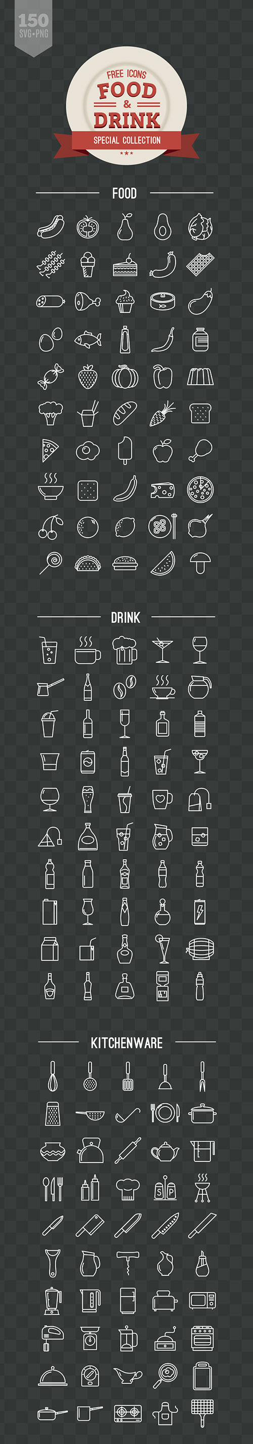 PNG, SVG Vector Icons - 150 Food and Drink Icons 2015