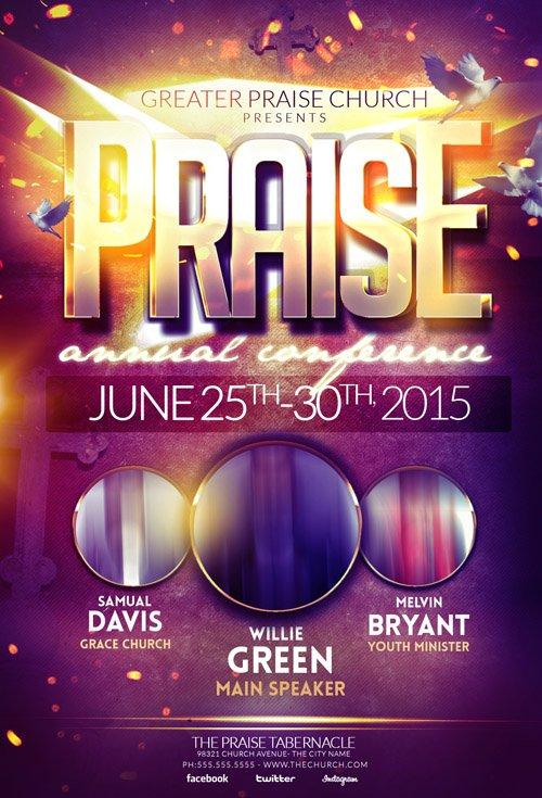 psd template - praise gospel flyer  u00bb nitrogfx