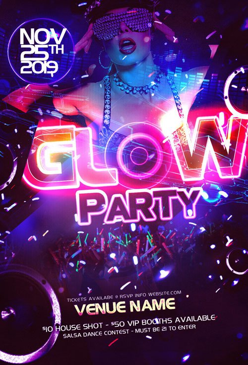 party flyer template psd neon glow nitrogfx download unique graphics for creative designers. Black Bedroom Furniture Sets. Home Design Ideas