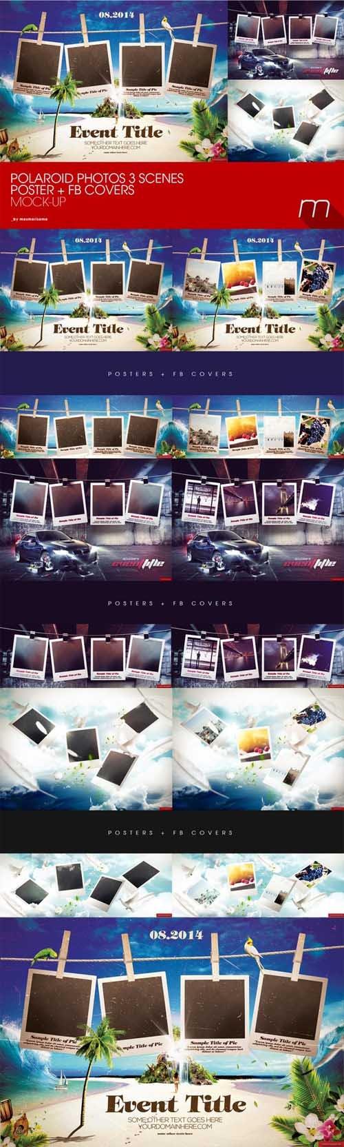 Polaroid Photos on 3 Scenes Mock-up
