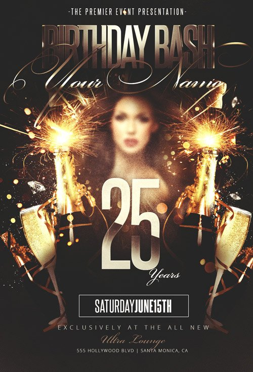 Psd Flyer Template - Birthday Bash Party » Nitrogfx - Download