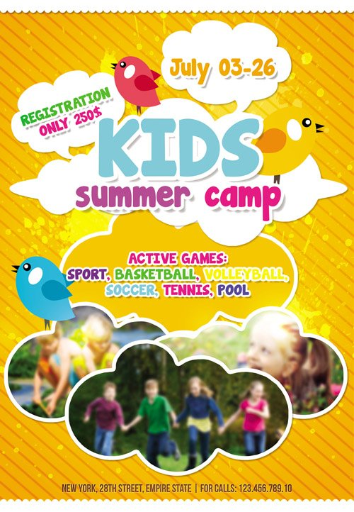 Flyer Template  Kids Summer Camp Facebook Cover  Nitrogfx