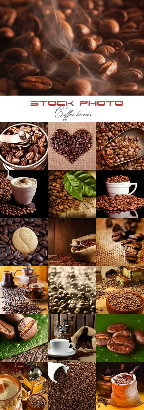 Coffee beans raster graphics