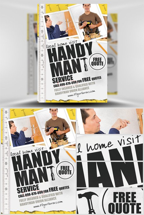 Flyer Template Psd  Handyman  Nitrogfx  Download Unique Graphics
