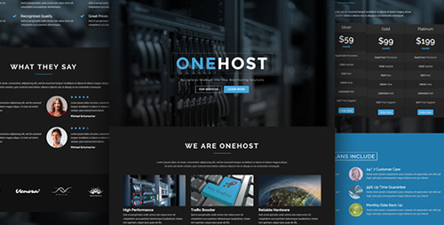 ThemeForest - Onehost v1.0.2 - One Page WordPress Hosting Theme + WHMCS