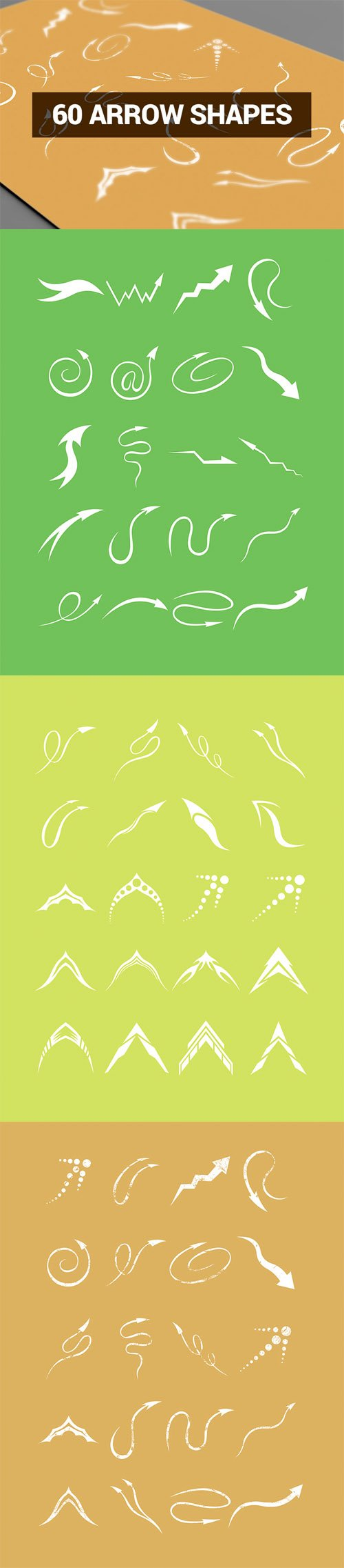 Vector Set Abstract Shapes - 60 Arrow Shapes Set 2
